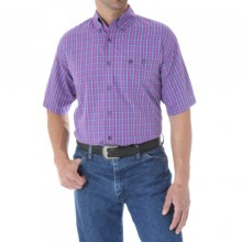 Wrangler Classic Western Fashion Plaid Shirt - Short Sleeve (For Men and Big Men) in Purple/Teal - Closeouts