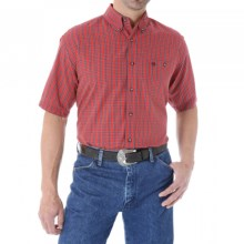 Wrangler Classic Western Fashion Plaid Shirt - Short Sleeve (For Men and Big Men) in Red - Closeouts