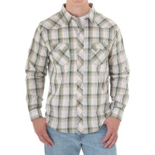 Wrangler Cotton Poplin Western Shirt - Long Sleeve (For Men) in Gree/Khaki/White Plaid - Closeouts