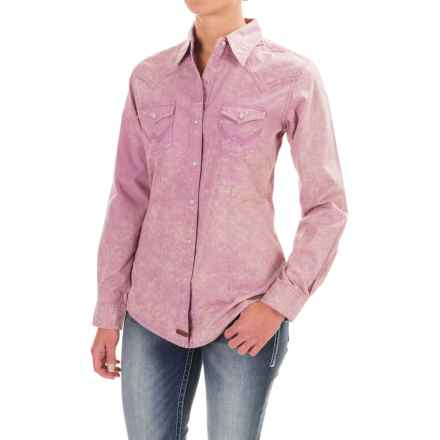Wrangler Cotton Yoked Shirt - Snap Front, Long Sleeve (For Women) in Lilac - Closeouts