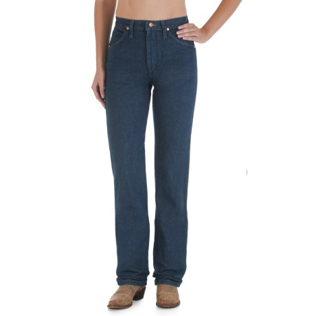 Wrangler Cowboy Cut Jeans - Slim Fit, Straight Leg (For Women) in Zg Prewashed Indigo