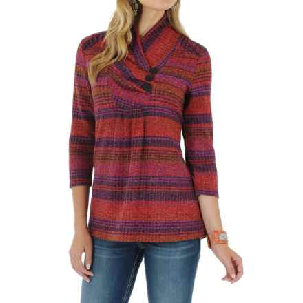 Wrangler Cowl Neck Ribbed Sweater - 3/4 Sleeve (For Women) in Red/Purple - Closeouts