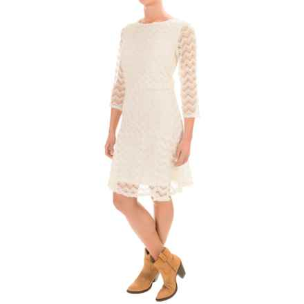 Wrangler Crochet Dress - 3/4 Sleeve (For Women) in Natural - Closeouts