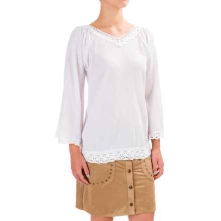 Wrangler Crochet Trim Peasant Top - V-Neck, Long Sleeve (For Women) in White - Closeouts
