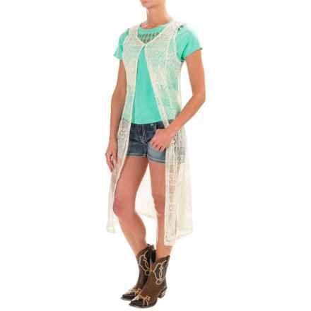 Wrangler Crocheted Duster Vest (For Women) in Cream - Closeouts
