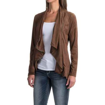 Wrangler Drape Neck Jacket - Faux Suede (For Women) in Nutmeg - Closeouts