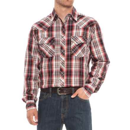Wrangler Easy-Care Plaid Shirt - Snap Front, Long Sleeve (For Big and Tall Men) in Red - Overstock