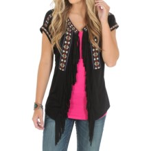 Wrangler Embroidered Fringe Cardigan Shirt - Short Sleeve (For Women) in Black - Closeouts