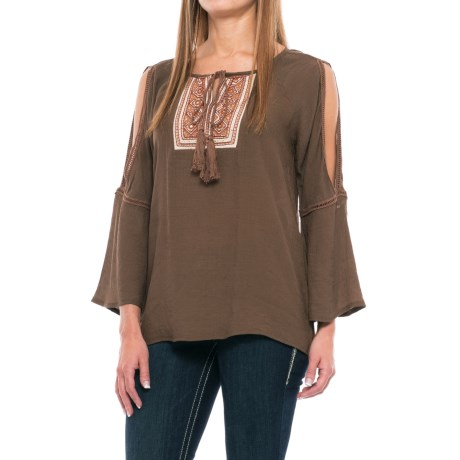 Wrangler Embroidered Peasant Shirt - Long Sleeve (For Women) in Brown