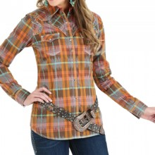 Wrangler Fancy-Yoke Western Shirt - Snap Front, Long Sleeve (For Women) in Coral/Brown - Closeouts