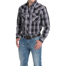 Wrangler Fashion Plaid Shirt - Snap Front, Long Sleeve (For Men) in Black/White/Burgundy - Closeouts