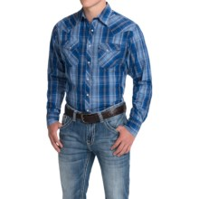 Wrangler Fashion Plaid Shirt - Snap Front, Long Sleeve (For Men) in Blue/Dark Blue - Closeouts