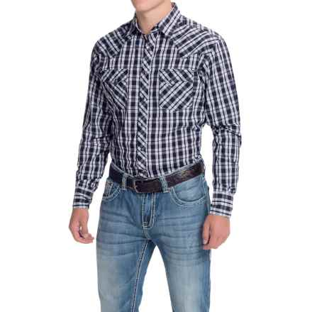 Wrangler Fashion Plaid Shirt - Snap Front, Long Sleeve (For Men) in Blue/White - Closeouts