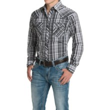 Wrangler Fashion Plaid Shirt - Snap Front, Long Sleeve (For Men) in Grey/Black/White - Closeouts