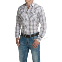 Wrangler Fashion Plaid Shirt - Snap Front, Long Sleeve (For Men) in Khaki/Brown - Closeouts