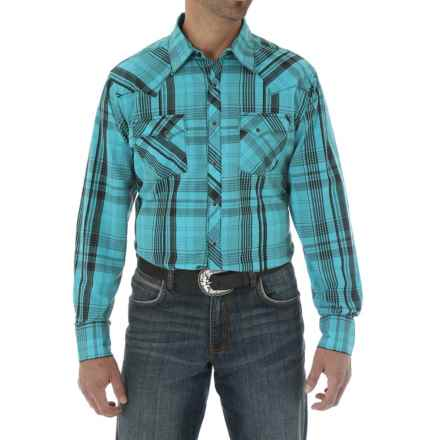 Wrangler Fashion Plaid Shirt - Snap Front, Long Sleeve (For Men) in Teal/Black - Closeouts