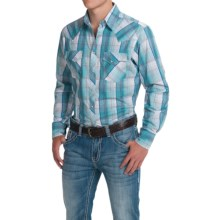Wrangler Fashion Plaid Shirt - Snap Front, Long Sleeve (For Men) in White/Grey/Blue - Closeouts