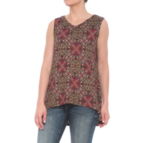 Wrangler Faux-Suede High-Low Print Shirt - Sleeveless (For Women) in Olive/Rose/Multi
