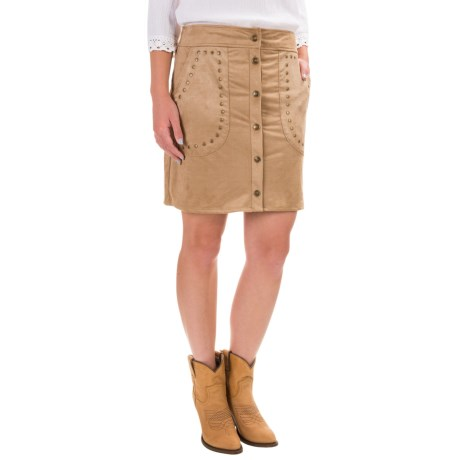 Wrangler Faux-Suede Skirt - Button Front (For Women) in Camel