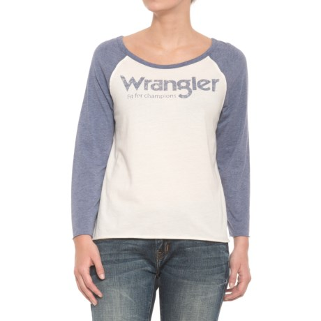 Wrangler Fit for Champions Baseball T-Shirt - Scoop Neck, Long Sleeve  (For Women) in Oatmeal/Charcoal