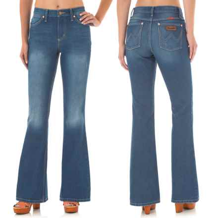 Wrangler Flared Leg Jeans - High Waist (For Women) in Rt Washed True Blue - Closeouts
