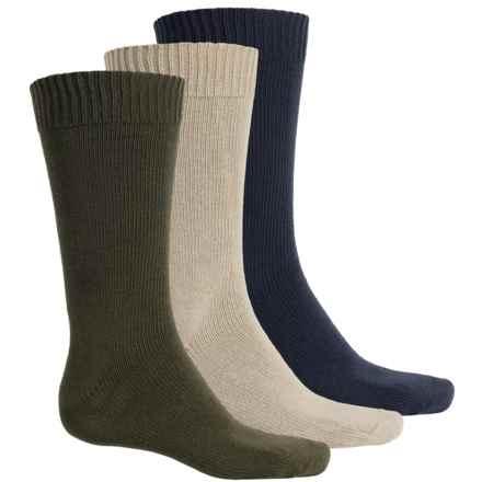 Wrangler Flat-Knit Socks - 3-Pack, Mid Calf (For Men) in Navy/Khaki/Green - Closeouts