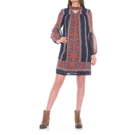 Wrangler Floral Print Peasant Dress - Long Sleeve (For Women) in Red - Closeouts