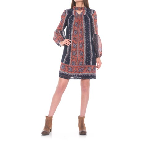 Wrangler Floral Print Peasant Dress - Long Sleeve (For Women) in Red