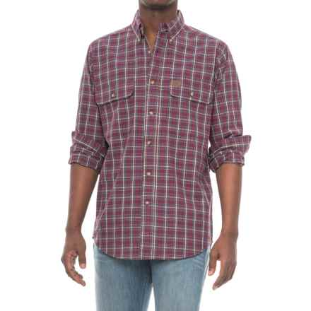 Wrangler Foreman Work Shirt - Long Sleeve (For Men) in Burgundy Plaid - Closeouts