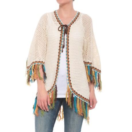 Wrangler Fringed Crochet Cardigan Sweater - Short Sleeve (For Women) in Ivory