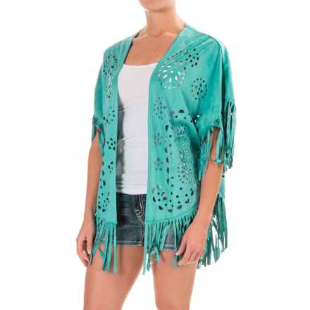 Wrangler Fringed Laser-Cut Open-Front Poncho - Faux Suede, Short Sleeve (For Women) in Turquoise - Closeouts