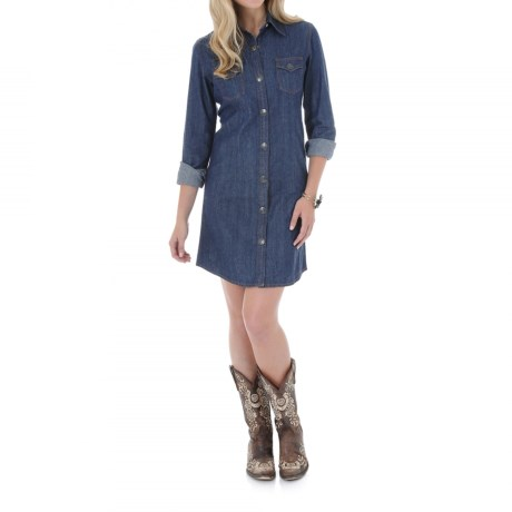 Wrangler Front Snap Denim Dress Long Sleeve (For Women)