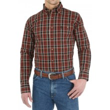 Wrangler George Strait Collection Plaid Shirt - Button Front, Long Sleeve (For Men) in Chestnut/Orange - Closeouts