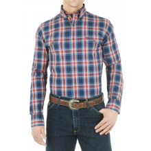 Wrangler George Strait Collection Plaid Shirt - Button Front, Long Sleeve (For Men) in Navy/Red - Closeouts