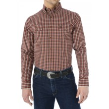 Wrangler George Strait Collection Plaid Shirt - Button Front, Long Sleeve (For Men) in Orange/Brown - Closeouts