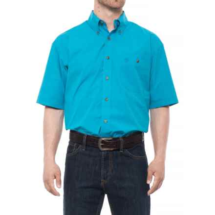 Wrangler George Strait Collection Printed Shirt - Short Sleeve (For Men and Big Men) in Turquoise - Closeouts