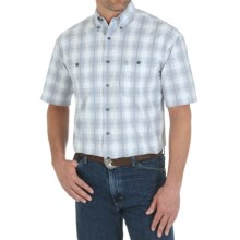 Wrangler George Strait Collection Printed Western Shirt - Button Front, Short Sleeve (For Men) in Grey Plaid - Closeouts