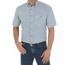 Wrangler George Strait Collection Printed Western Shirt - Button Front, Short Sleeve (For Men) in Navy Print - Closeouts