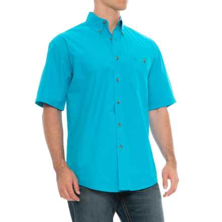 Wrangler George Strait Collection Printed Western Shirt - Button Front, Short Sleeve (For Men) in Turquoise - Closeouts