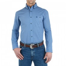 Wrangler George Strait Collection Western Shirt - Long Sleeve (For Men) in Blue - Closeouts