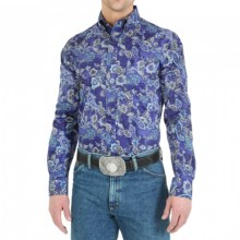 Wrangler George Strait Collection Western Shirt - Long Sleeve (For Men) in Topaz - Closeouts
