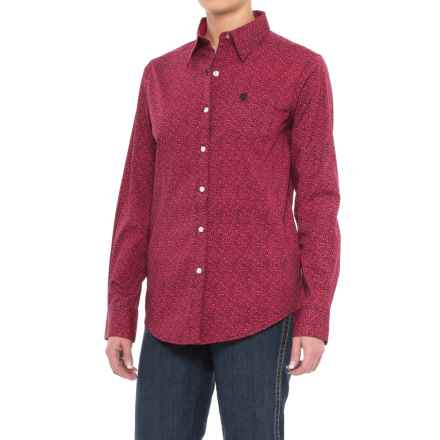 Wrangler George Strait Mini-Paisley Woven Shirt - Long Sleeve (For Women) in Red Paisley - Closeouts