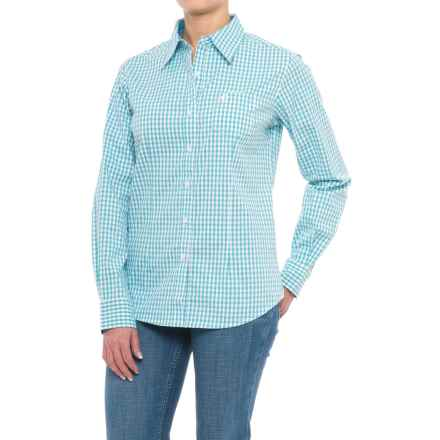 Wrangler George Strait Plaid Shirt - Long Sleeve (For Women) in Turquoise/White - Closeouts