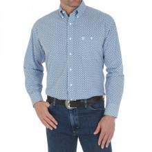 Wrangler George Strait Western Shirt - Long Sleeve (For Men and Big Men) in Blue Print - Closeouts