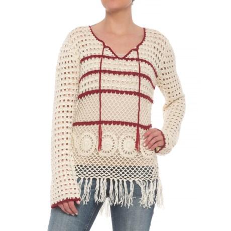 Wrangler High-Low Fringed Crochet Sweater (For Women) in Ivory