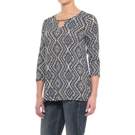 Wrangler Keyhole Neckline Shirt - Stretch Rayon, 3/4 Sleeve (For Women) in Black/White/Periwinkle