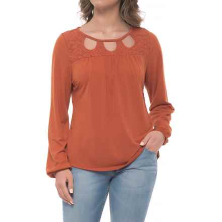 Wrangler Lace Cutout Peasant Shirt - Long Sleeve (For Women) in Rust Copper - Closeouts