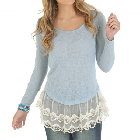 Wrangler Lace Trim Sweater Scoop Neck (For Women)
