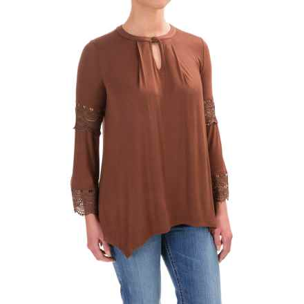 Wrangler Lace-Trimmed Tunic Shirt - Long Sleeve (For Women) in Brown - Closeouts