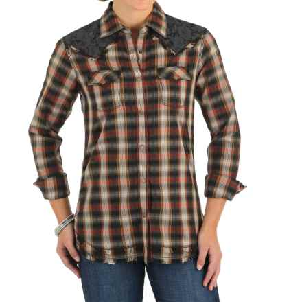 Wrangler Lace Yokes Shirt - Snap Front, Long Sleeve (For Women) in Black Plaid - Closeouts